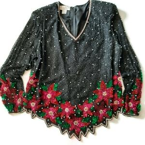 VINTAGE 90s silk beads and sequins holiday top